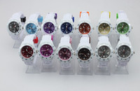 Wholesale Pink Pointer - Silicone Calendar Watches Unisex calendar White Strap Watch color dial Candy Jelly Pointer Watch Date watch 43mm
