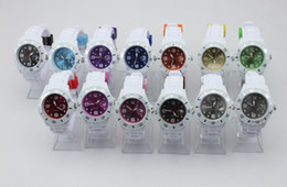 Wholesale Candy Watch Jelly Calendar - Silicone Calendar Watches Unisex calendar White Strap Watch color dial Candy Jelly Pointer Watch Date watch 43mm