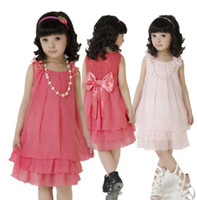 Wholesale Dress Colors Three - Wholesale - Children Clothing Girl Princess Dresses Chiffon Summer Dresses three colors 5pcs