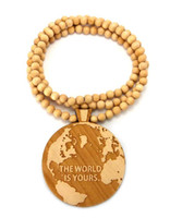 """Wholesale shipping nyc - Free Shipping 50pcs lot """"the world is yours"""" Good Wood NYC Hiphop Pendant Good wood necklace"""