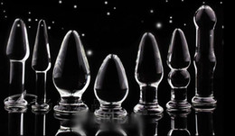 $enCountryForm.capitalKeyWord Canada - Crystal Glass Anal Butt Plug Dildos Plunger Stopper Masturbator Slave Trainer Adult Sex Toys 7 pcs a aet