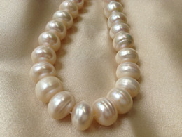 13mm Buttons Canada - 12-13mm White Cultured Freshwater Pearls Round Button Loose Beads Nature Circles 15 inches