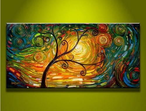 Modern Abstract Canvas Art Oil Painting Tree Art 15695