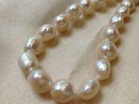 11mm zuchtperlen großhandel-10-11mm Weiß kultivierte Süßwasserperlen Barock Nugget lose Perlen 15 Zoll
