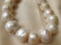 Wholesale Huge Round Pearls - 12-14mm Huge Sized Cultured Freshwater Pearls Round Potato Loose Beads 15 inches