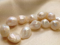 Wholesale Round White Pearl Beads - 12-13mm White Cultured Freshwater Pearls Baroque Nugget Loose Beads Thin 15 inches