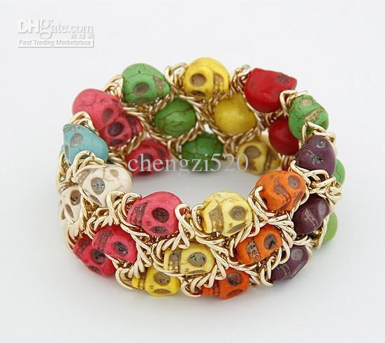 Ultra-wide färgskalle Armband vävda elastiska armband