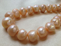 Wholesale Wholesale Loose Pearl Strands - 13-14mm Pink Freshwater Pearls Strand Round Potato Loose Beads 15 inches