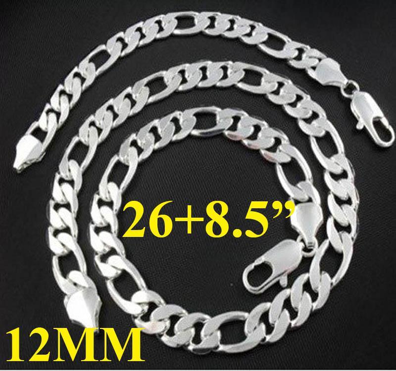 大胆な男性のジュエリー925銀12mm widen figaroチェーンネックレス(26inch)ブレスレット(8.5inch)2セット+ボックス