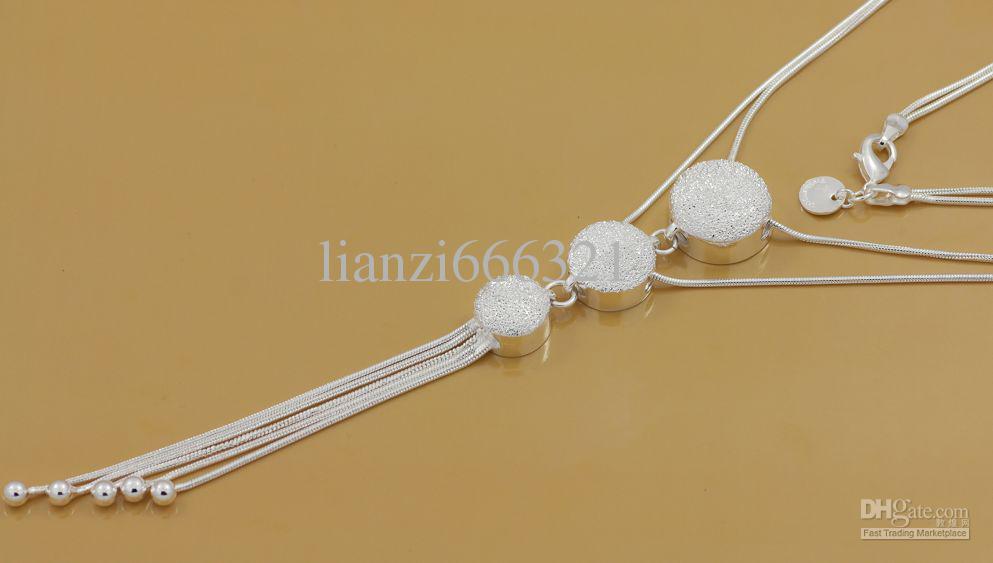 Gratis frakt med spårningsnummer bästa mest heta sälja kvinnors delikata present smycken 925 silver 3 pärla tofsels halsband