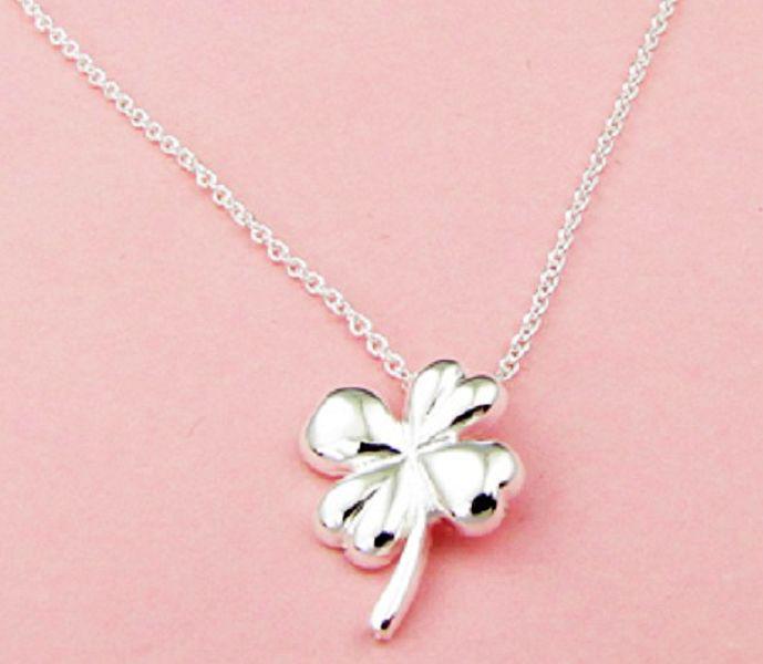 Gratis frakt med spårningsnummer bästa mest heta sälja kvinnors känsliga present smycken 925 silverklöver halsband