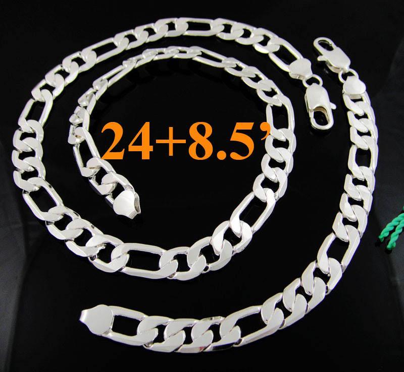 Coole Heren Sieraden 925 Zilver 12mm Figaro Kettingen Ketting Armband Sieraden Set 24 + 8.5 inch
