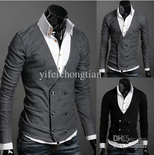2018 Fashion Slim Black Cardigan With Botton Men'S Sweater Cotton ...