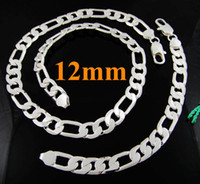 Wholesale Silver Chain 925 Set Figaro - 5sets Cool 925 Silver Men's 12MM Flat Figaro Chains Necklae & Bracelet jewelry set 4 Choices