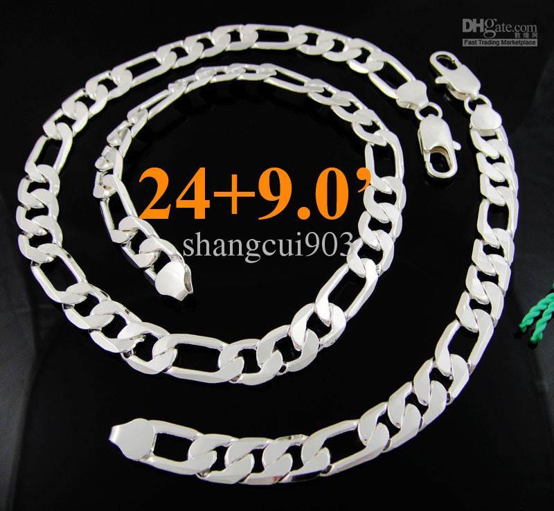 5 компл. прохладный 925 серебро мужская 12 мм плоские Фигаро цепи Necklae браслет ювелирных изделий 4 Выбор