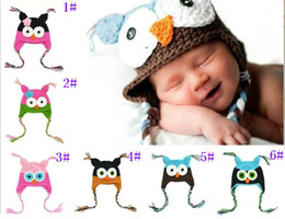 Wholesale Owl Ear Flap - New Toddler Owl Ear Flap Crochet Hat Baby Handmade Beanie Hat Handmade Beanies Knitted hat cap H003