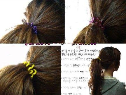 1000pcs * buntes Telefon Draht Haarband Haarkranz Geeignet für alle langhaarigen Pferdeschwanz