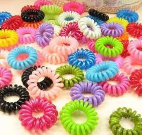 1000pcs * banda de pelo de alambre de teléfono colorido anillo del pelo adecuado para todos cola de caballo de pelo largo