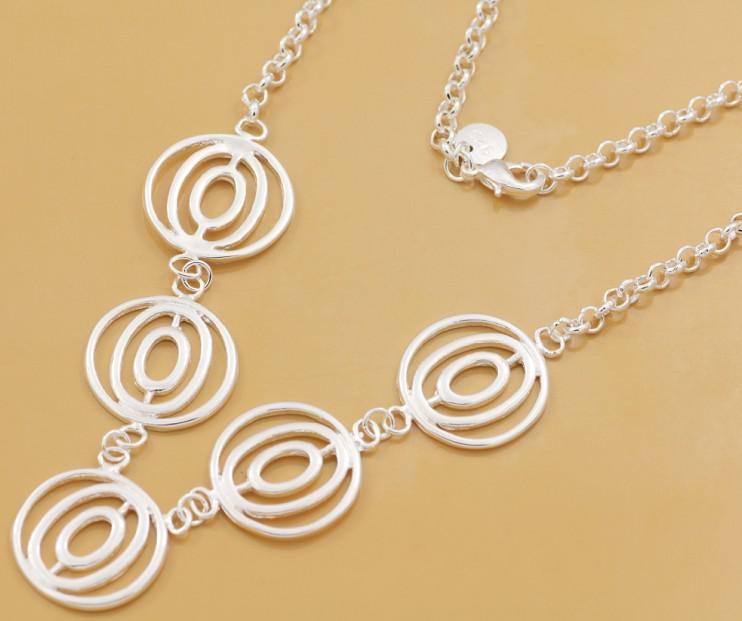 Gratis frakt med spårningsnummer bästa mest heta sälja kvinnors känsliga present smycken 925 silver 6 cirkel halsband