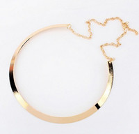 Wholesale Silver Hoop Choker - Silver gold plated mirrored hoop collar choker necklace 12pcs lot mix color women's jewelry