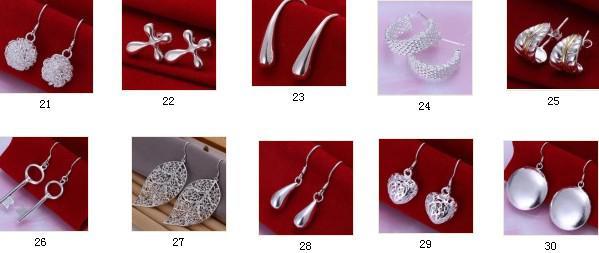 10pcs * 10 estilo opcional clásico caliente-venta de 925 pendientes plateados plata precio de venta directa