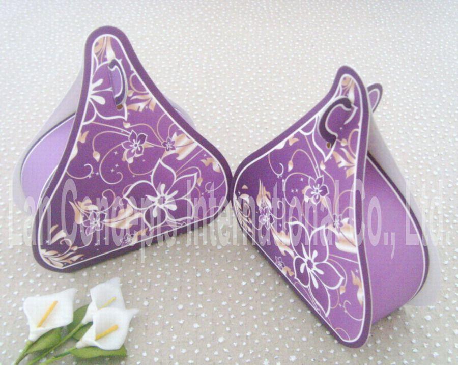 DIY 접히지 골판지 결혼식 호의 상자 사탕 상자 - 9 x 3.5 x 9.8cm / LWB0095 보라색