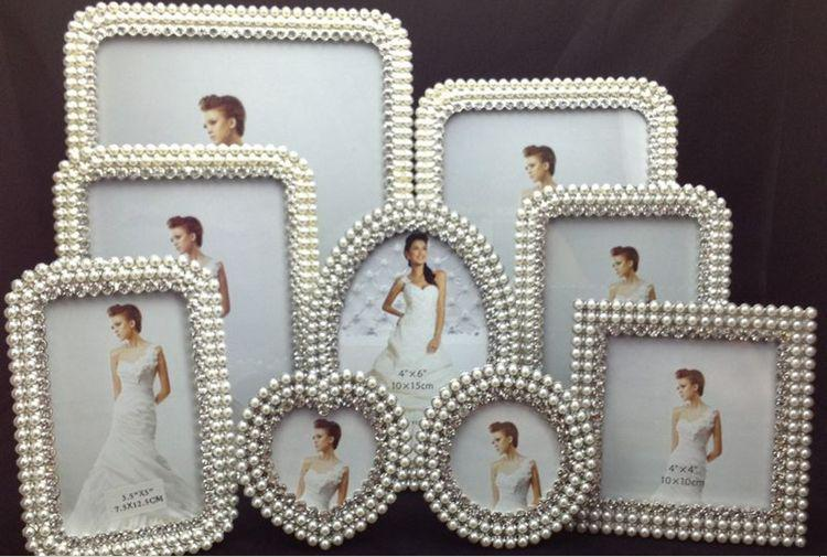 9pcsset pearl diamond inlaid metal photo frame very nice 1shape heart shaped round square oval rectangular 2style european classical 39pcs - Metal Photo Frames