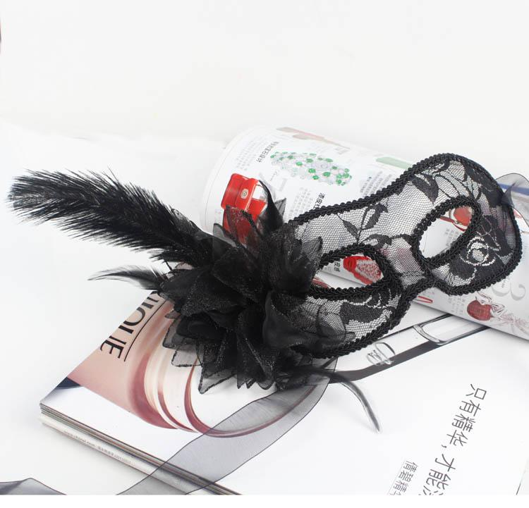 on sale party Masks Luxury ostrich feather mask venetian masquerade mask half face Halloween wedding party decoraation