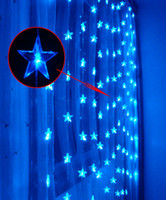 Wholesale Shop Window Christmas Decorations - Five-pointed star 180 LED 3*3m Curtain Lights,Christmas ornament lights,Wedding Shop window Decoration waterproof led strip lighting strips