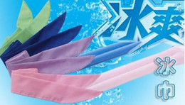 Wholesale Boys Pink Neck Ties - HOTTEST Sale COOL WATER BAND Speed to Cold Towel scarf Cooling Scarf Ties Neck Scarves Headband Wristband summer beach supplies gift 4colors