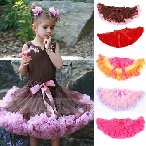 5pcs Cute Baby Chiffon Pettiskirt TuTu Skirt Children Princess Skirts Kid's Dance Party Dress