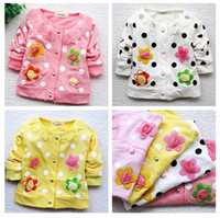 Wholesale Dot Cardigan Girls Baby - autumn New fashion baby  girl's Sweet and simple flower children girl long-sleeved coat  jacket ,(8pcs l