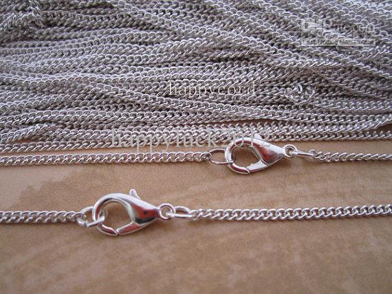 Atacado - 2 milímetros 20inch prata banhado elo da cadeia Com cadeia fecho da lagosta colar /