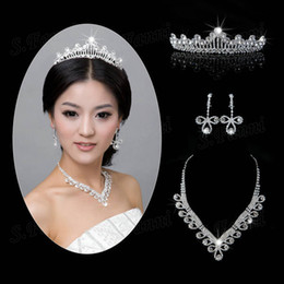 925 silver austria crystal online shopping - New arrival package ear crown and necklace Austria crystal bridal jewelry