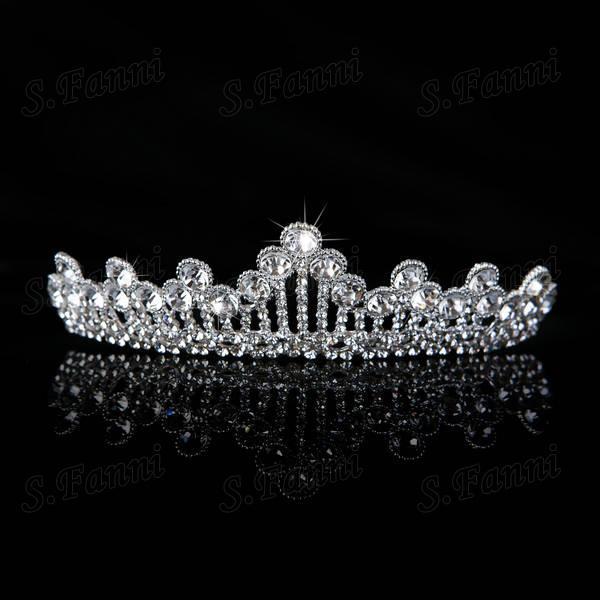 새로운 도착 많은 패키지 귀, 왕관과 목걸이 오스트리아 크리스탈 신부의 쥬얼리