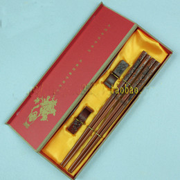 Wholesale Wooden Dragons - Dragon Engraved Chopsticks Gift Box Sets Chinese Wooden High End 2 set  pack (1set=2pair) Free