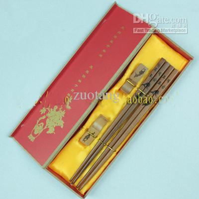 Luxe eetstokjes gegraveerde Panda Design Geschenken Box 2 Sets / Pack (1Set = 2pair) Gratis