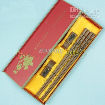 Grawerowane Unikalne Chopsticks Pudełka Pudełka Ustaw High End Chinese Drewniane 2 Zestawy / Pack (1 zestaw = 2Pair) Bezpłatnie