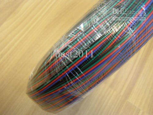 4-pin-kabel voor RGB LED-strip, rood, zwart, groen, blauw draad 100 m / partij, 100m lange DHL gratis verzending