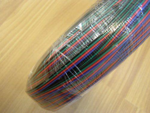 RGB LED 스트립, 빨간색, 검은 색, 녹색, 파랑 와이어 100m / 부지, 100m 긴 DHL 무료 배송 4 핀 케이블