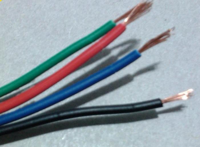 4 Pin Cable för RGB LED Strip, röd, svart, grön, blå tråd 100m / 100m lång DHL gratis frakt