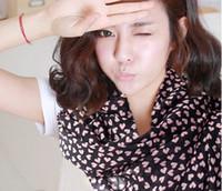 mousseline de soie coréenne achat en gros de-Echarpe 100% soie multi-usages amour coeur CHIFFON SOIE Echarpes Bandana Echarpe Ceinture Style Coréen