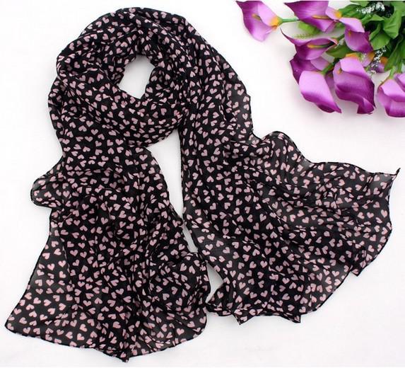100٪ الحرير وشاح الحب متعدد الأغراض القلب الحرير والشيفون والأوشحة وشاح باندانا حزام نمط الكورية