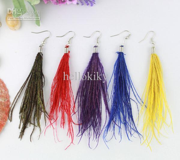 12 Pairs Moda Doğal Tavuskuşu Şerit Tüy Küpe # 21042