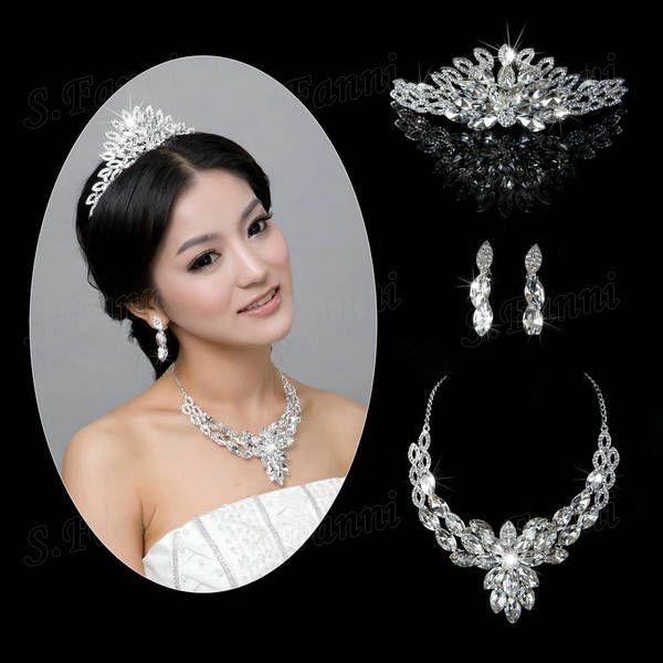 Ny ankomst!! Skönhet designer tiaras öra och halsband kristall smycken set bj003