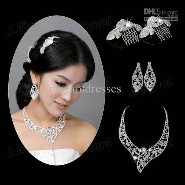 2021 Beauty Designer Headwear Ohrringe und Halskette Kristall Schmuck Set BJ006
