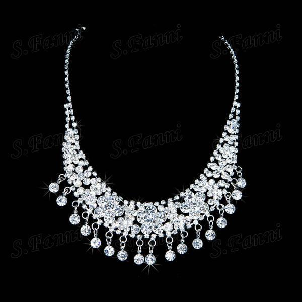 2019 Nouveau design strass diadèmes boucles d'oreilles et collier bijoux Set Bling Bling