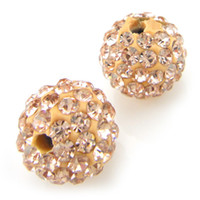 Wholesale Disco Ball Beads Loose - 80pcs Champagne Golden 10MM Crystal Disco Ball Bead Loose Round Rhinestone Beads Fit Bracelet