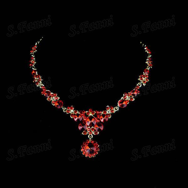 Snabb leverans! Röd ny design Rhinestone Headwear Örhängen och halsband BJ013 Smycken