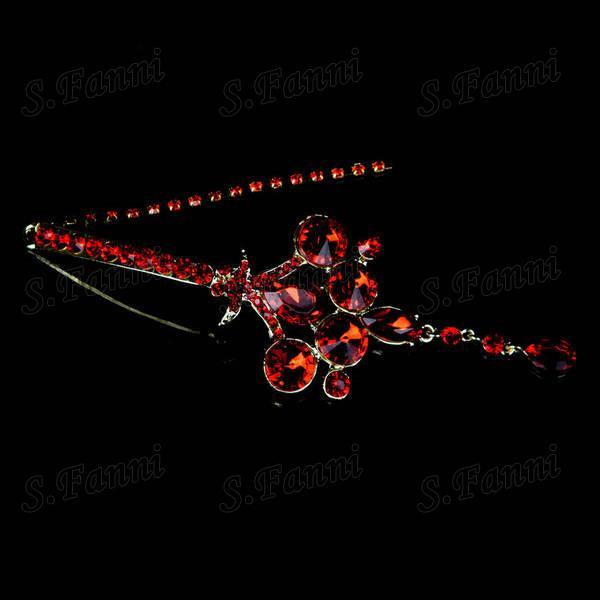 Livraison rapide! Rouge Nouveau design strass boucles d'oreilles et collierSet bijoux bj013